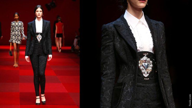 Dolce-and-Gabbana-matador-outfits-Spring-Summer-2015-black-brocade-suit